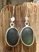 ES29 Eco-silver Sea Glass Earrings Forest green