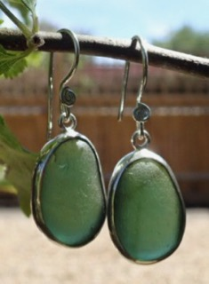 ES38 Eco-silver Sea Glass Earrings from Seaham in Forest Green Sea Glass