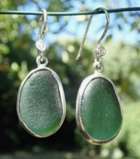 ES38 Sea Glass Earrings from Seaham in Forest Green Sea Glass