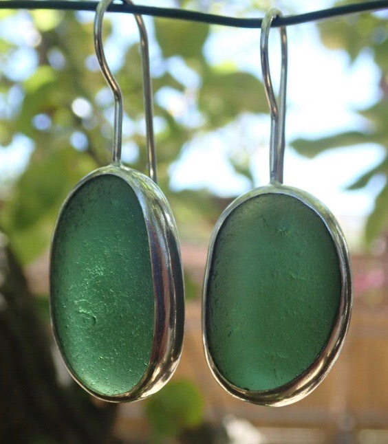 ED23 Eco-silver Sea Glass Earrings Durham Heritage Coastline Forest Green Sea Glass