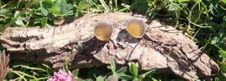 EST16 Eco-silver Sea Glass Earrings Seaham Multi Yellows