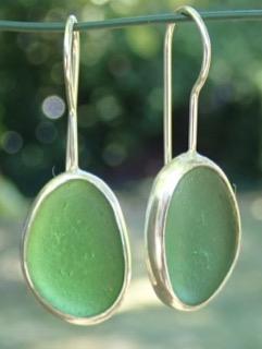 ED21 Sea Glass Earrings Jurasic Coastline Jade Green Sea Glass