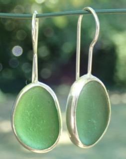 ED21 Eco-silver Sea Glass Earrings Jurassic Coastline Jade Green Sea Glass
