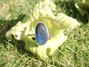 RE213 Eco-Silver Sea Glass Ring Seaham Multi Blues/White UK  N ½