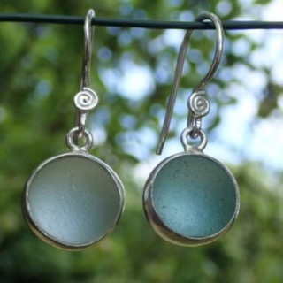 ES20 Sea Glass  Eco-silver Earrings from Seaham Pale Aquamarine and Cool Grey Sea Glass