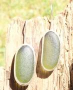 ED14 Sea Glass Earrings Seaham Olive Green Sea Glass