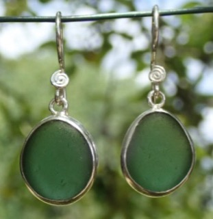 ES24 Sea Glass Earrings from Seaham Forest Green Sea Glass