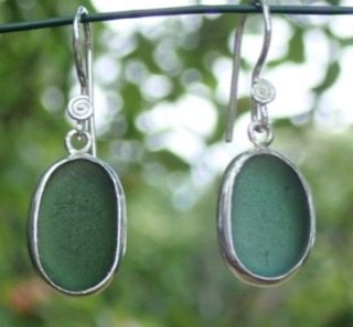 ES32 Sea Glass Earrings from Seaham in Forest Green Sea Glass