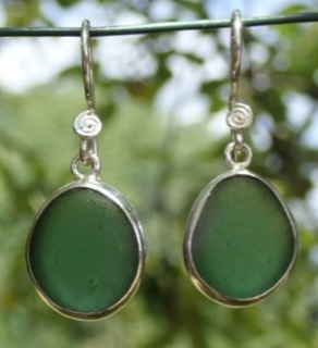 ES24 Eco-silver Sea Glass Earrings from Seaham Forest Green Sea Glass