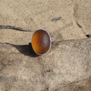RE179 Eco-silver Sea Glass Ring Seaham Honey Amber UK Q ½