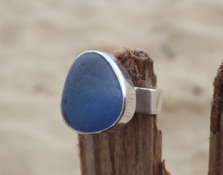 RE165 Eco-silver Sea Glass Ring UK J Seaham Cobalt and Sky Blue