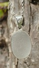 PE56 Sea Glass Pendant open Bezel White  Oval  in Eco-silver