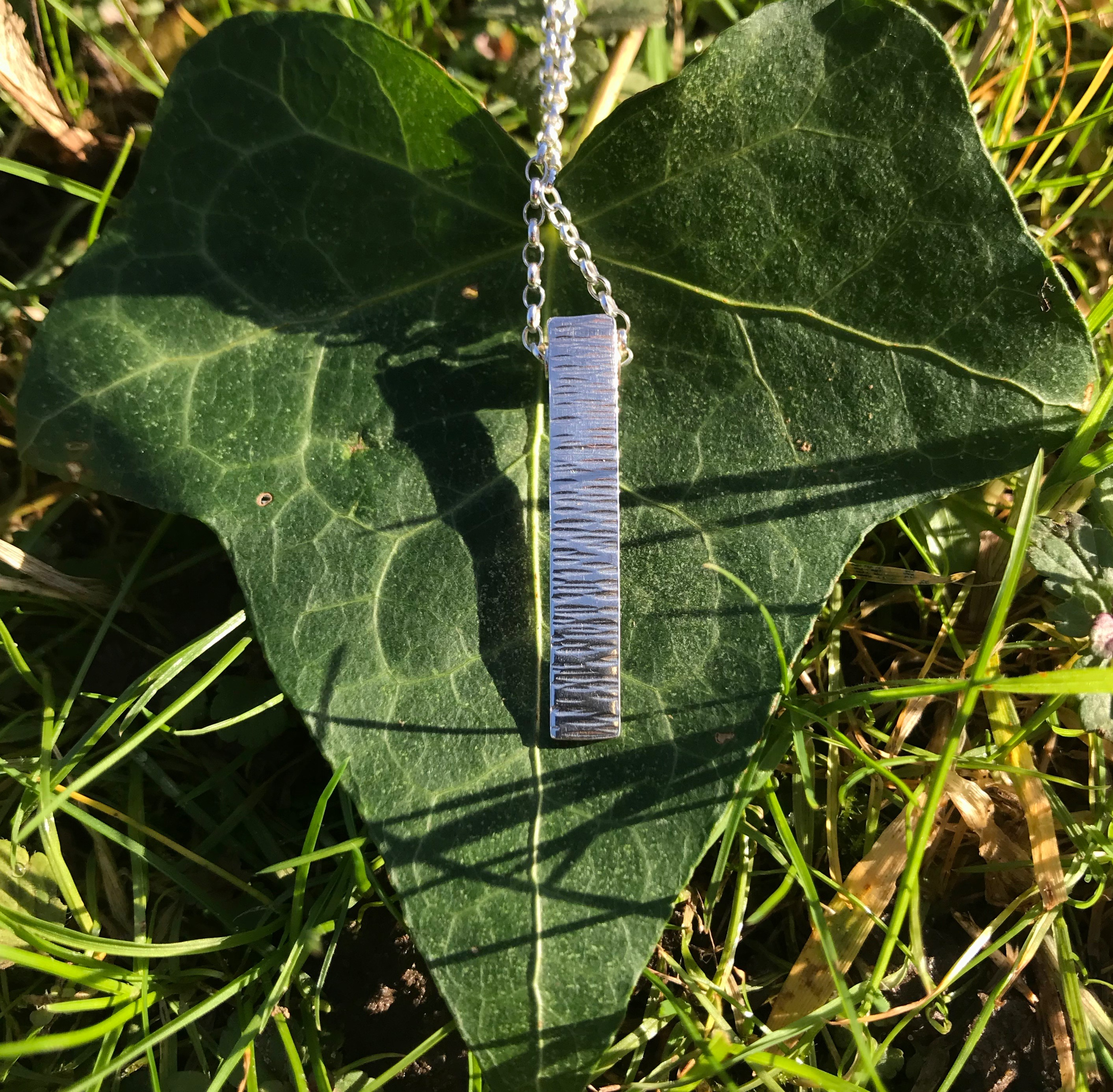 Driftwood Elongated Eco-silver Pendant