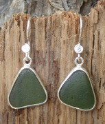 ES22 Sea Glass Earrings from Seaham in Light Olive Green Sea Glass