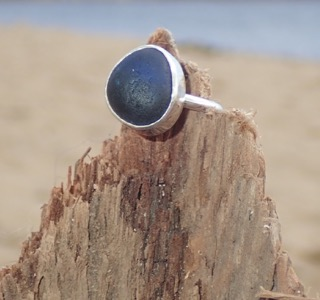 RE164 Eco-silver Sea Glass Ring UK I ½ Seaham multi dark cobalt blue