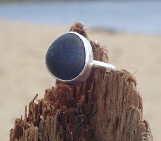 RE164 Eco-silver Sea Glass Ring UK I ½ Seaham multi dark cobalt blue