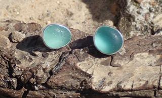 EST14 Eco-silver Earrings Sea Glass Seaham Turquoise