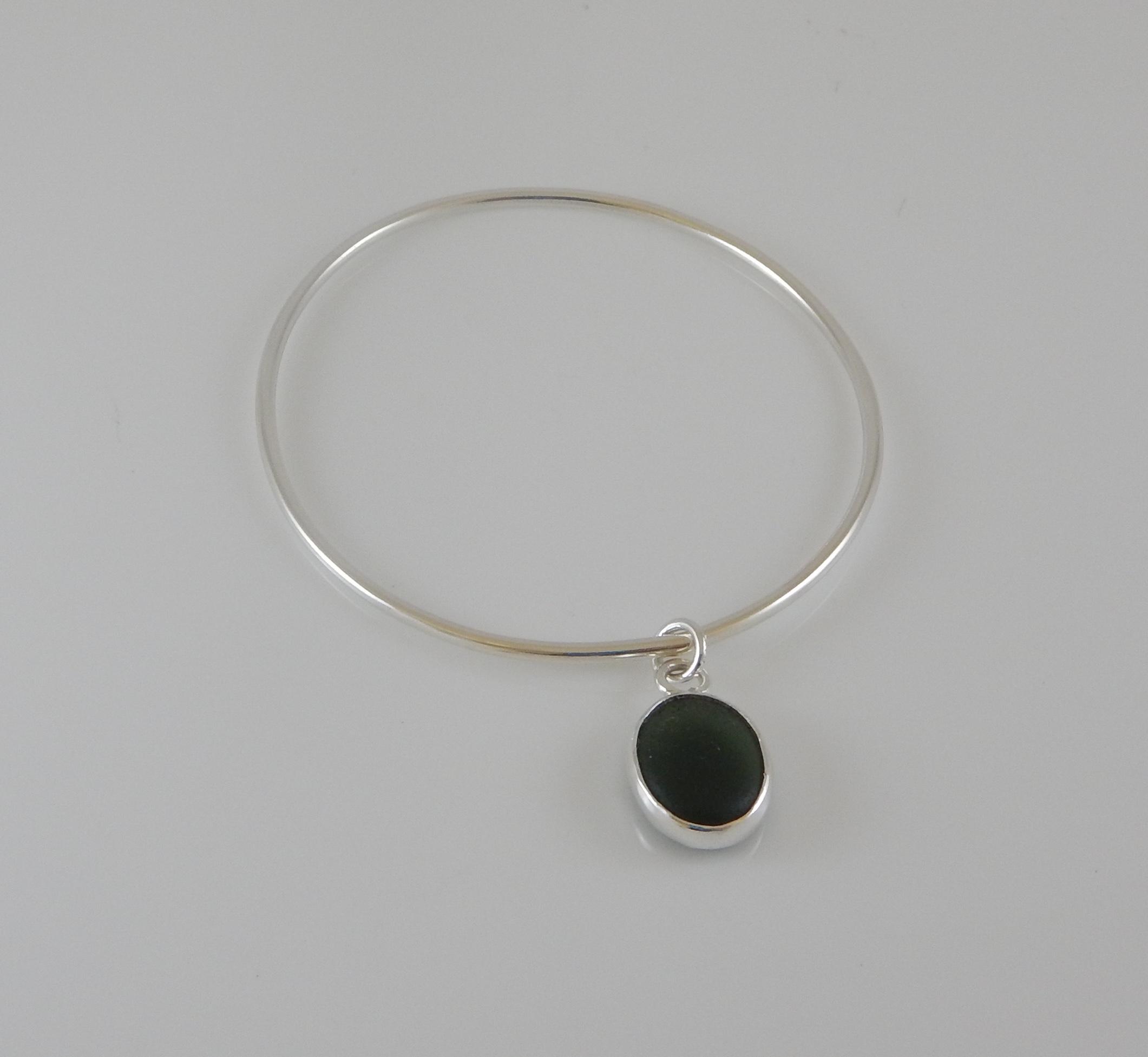 Eco-silver Green Seaham Sea Glass Bangle