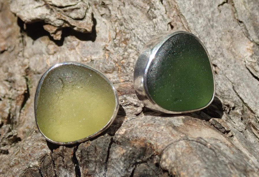 EST38 Eco-silver Sea Glass Earrings Seaham with Olive Yellow and Forest Green Sea Glass
