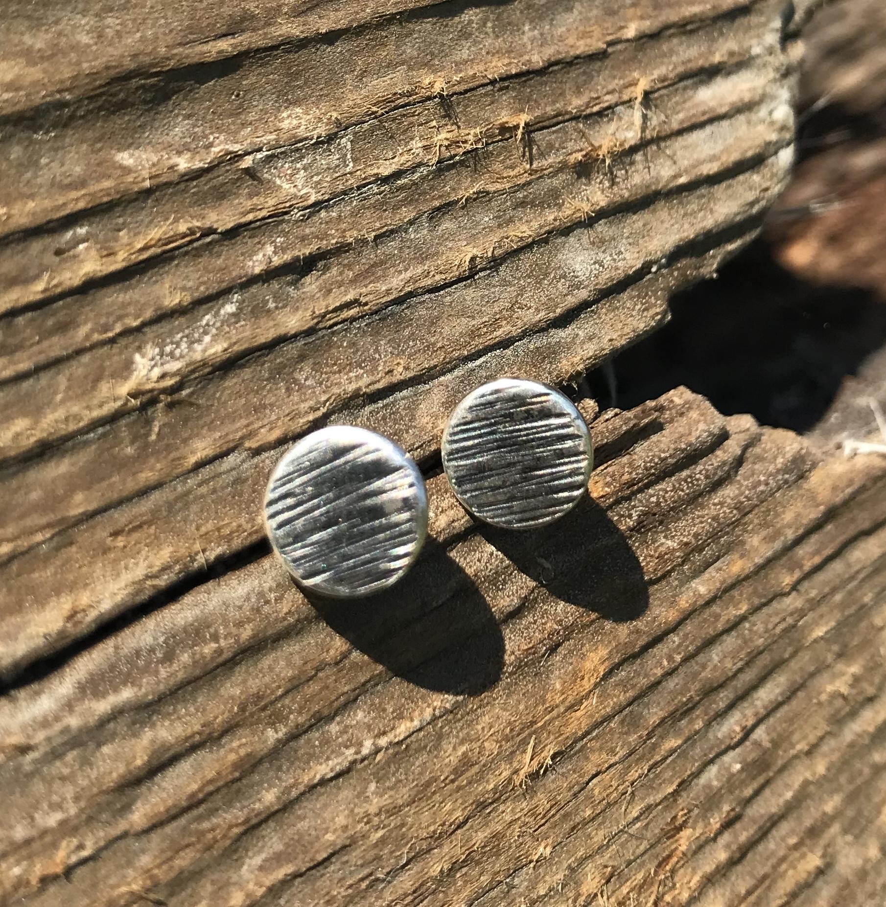 Driftwood Stud Earrings in Eco-silver