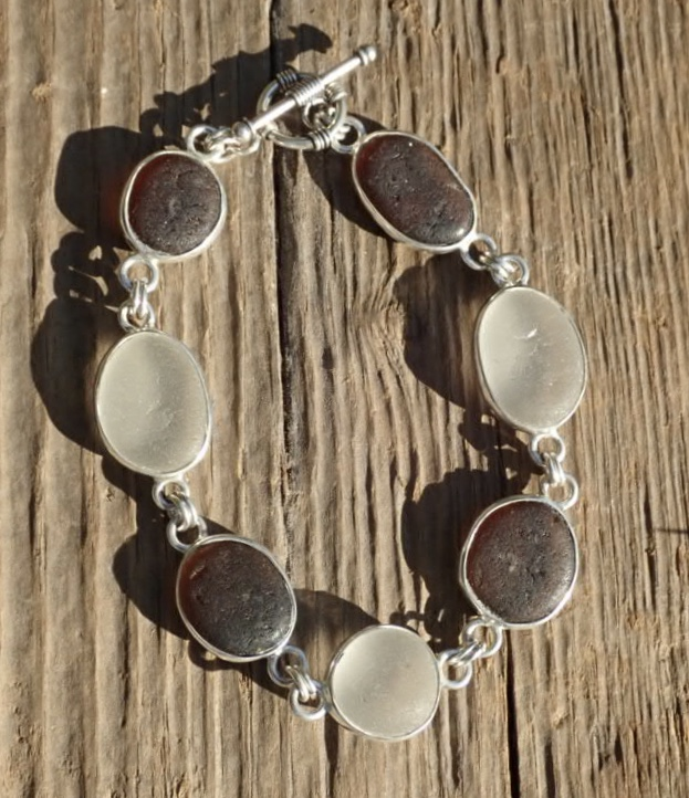 Eco-silver Seaham Sea Glass Bracelet Multi Open Bezel