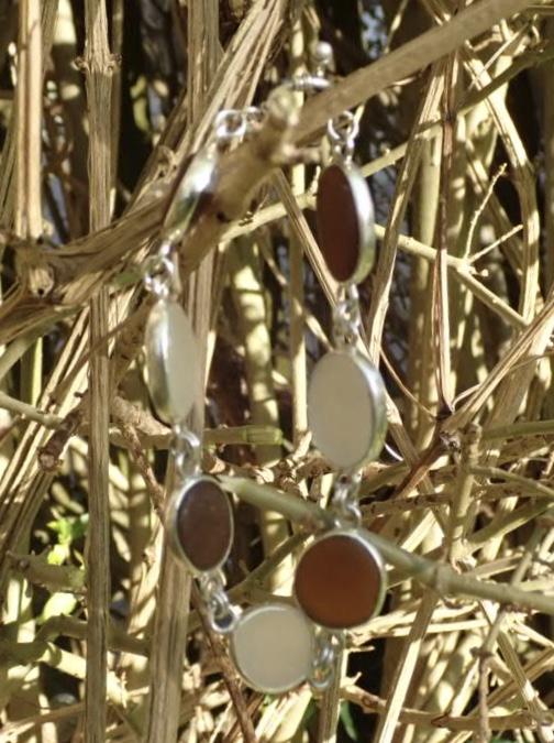 Eco-silver Seaham Sea Glass Bracelet Multi Open Bezel