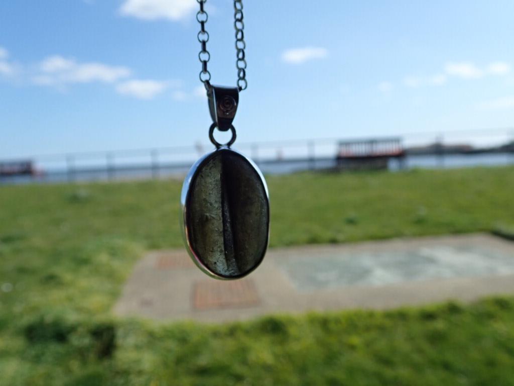 PE121  Eco-Silver Seaham Multi Brown Sea Glass Pendant