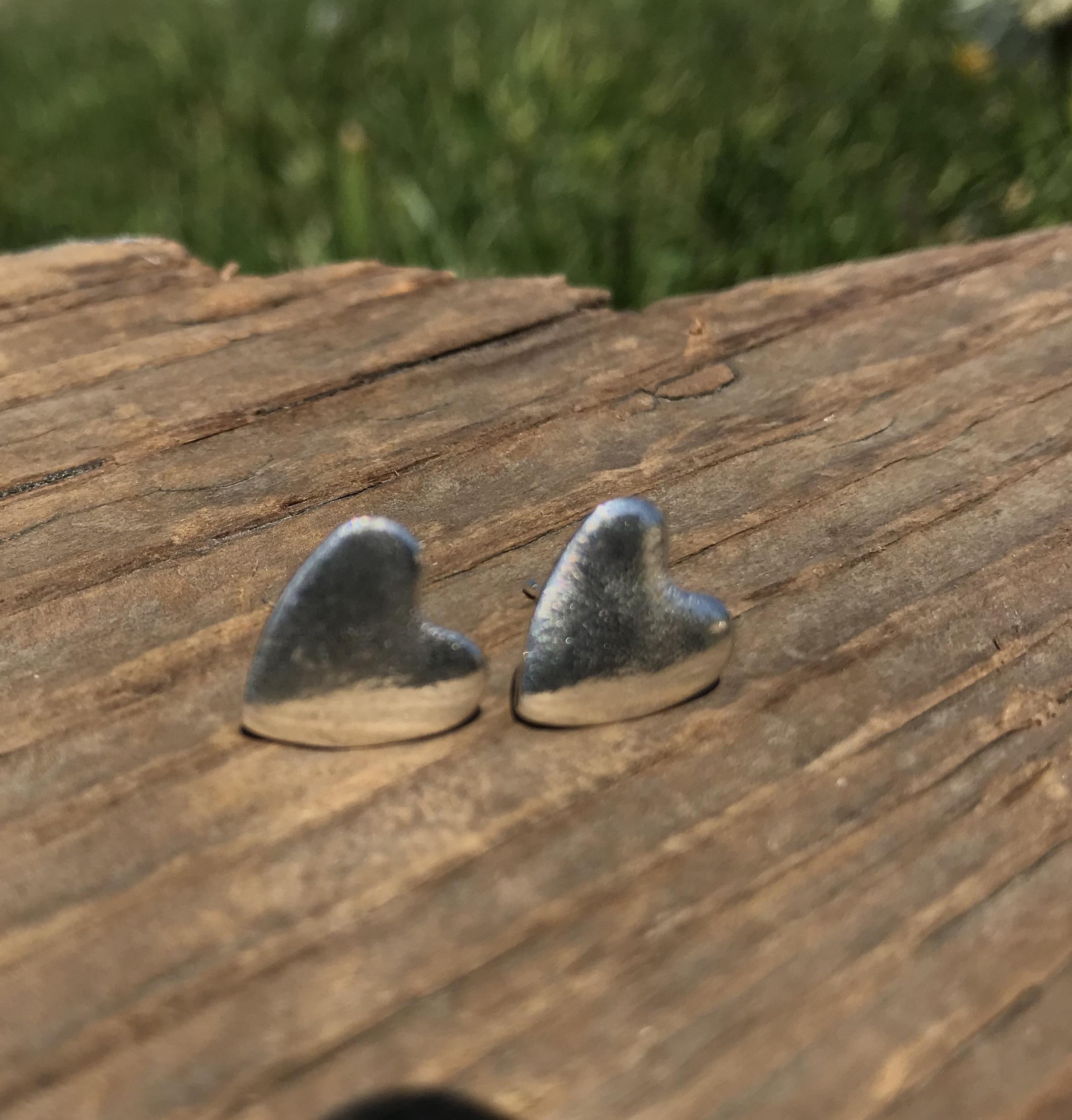 Sea Ripple Heart Stud Earrings in Eco-silver