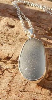 PE58  Eco-silver Sea Glass Pendant Pale Blue Seaham