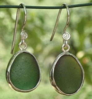 ES28 Eco-silver  Sea Glass Earrings from Seaham in Forest Green Sea Glass
