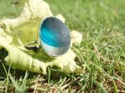 RE209 Sea Glass Ring Seaham Multi Blue UK R ½