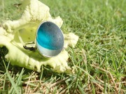 RE209 Eco-silver Sea Glass Ring Seaham Multi Blue UK R ½