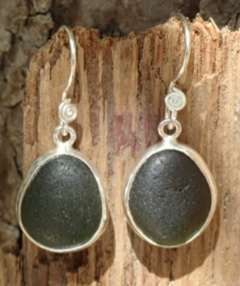 ES28 Sea Glass Earrings from Seaham in Forest Green Sea Glass