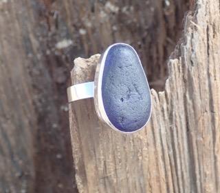 RE190 Eco-silver Sea Glass Ring Seaham Dark cobalt blue Multi