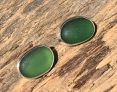 EST30 Sea Glass Earrings Seaham with Dark Forest Green Sea Glass
