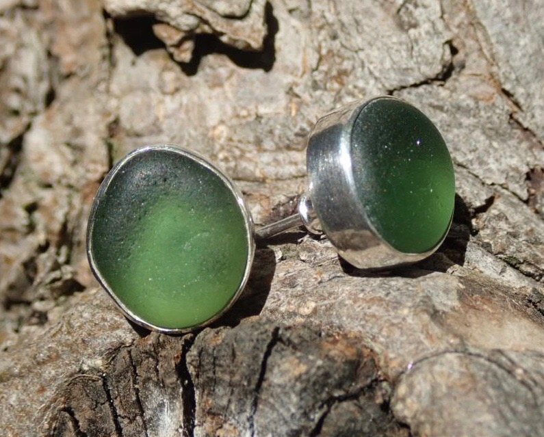 EST40 Eco-silver Sea Glass Earrings Seaham with Forest Green Sea Glass