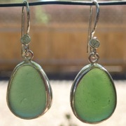 ES42 Eco-silver Sea Glass Earrings from Seaham in Forest Green Sea Glass