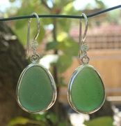 ES42 Sea Glass Earrings from Seaham in Forest Green Sea Glass