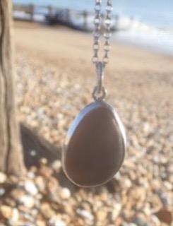 PE92 Eco-silver Sea Glass Pendant Seaham Multi Mauves and Lilacs