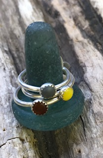 Nurdle Eco Silver Rings (Grey, Brown, Yellow)