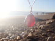 PE91 Eco-silver Sea Glass Pendant Seaham Multi Red and White