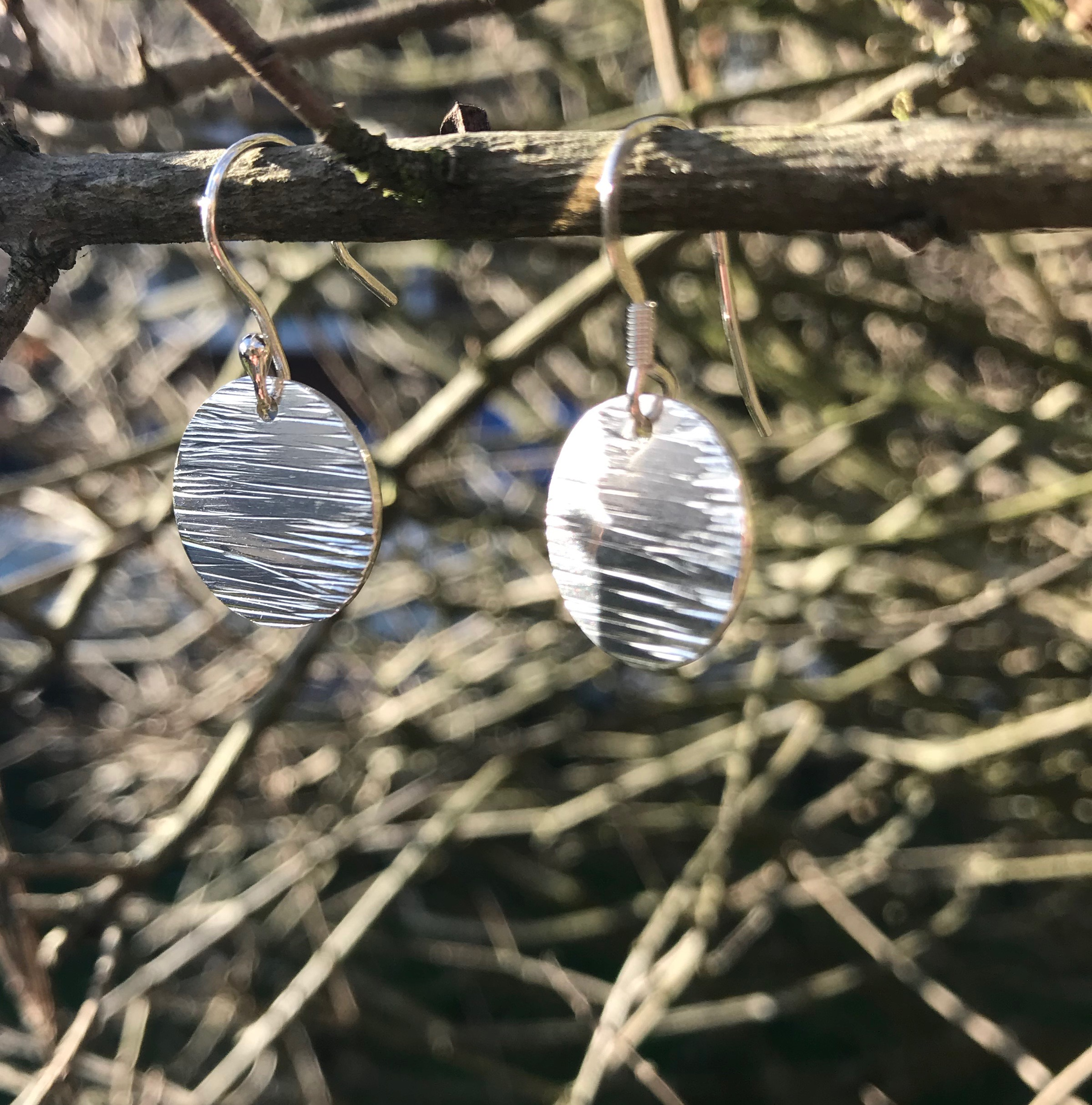 Driftwood  Eco-silver Earrings 15mm Round