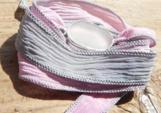 Eco-silver Seaham Sea Glass Boho Silk Wrist Wrap