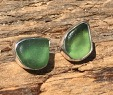 EST26 Eco-silver Sea Glass Earrings Seaham with Forest Green Sea Glass