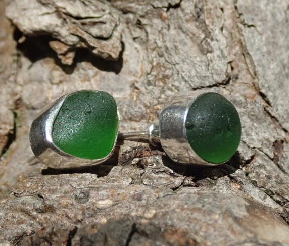 EST35 Eco-silver Sea Glass Earrings Seaham with Kelly Green Sea Glass