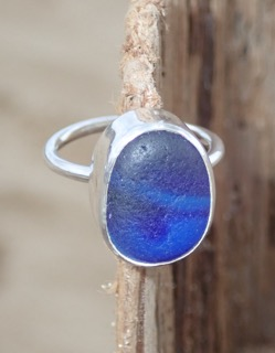 RE173 Eco-silver Sea Glass Ring Multi Dark Cobalt Blues UK L ½
