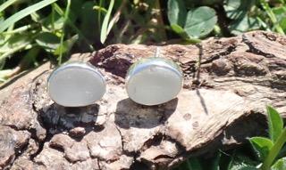 EST18 Eco-silver Sea Glass Earrings Seaham White