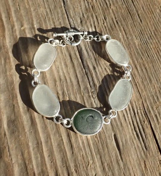 Eco-silver White and Green Seaham Sea Glass Bracelet Multi Open Bezel