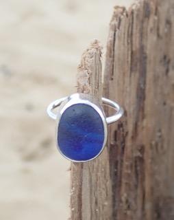 RE173 Eco-silver Sea Glass Ring Multi Dark Cobalt Blues UK L ½