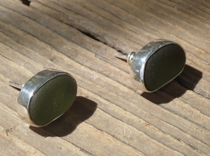 EST36 Sea Glass Eco-silver Earrings Seaham with Olive Yellow Sea Glass